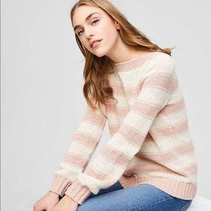 NWT LOFT L Pink Cream Striped Boatneck Sweater